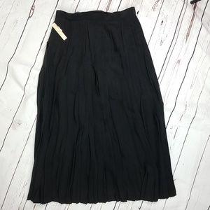 Vintage Black Silk Pleated NWT Maxi Skirt Sz 16
